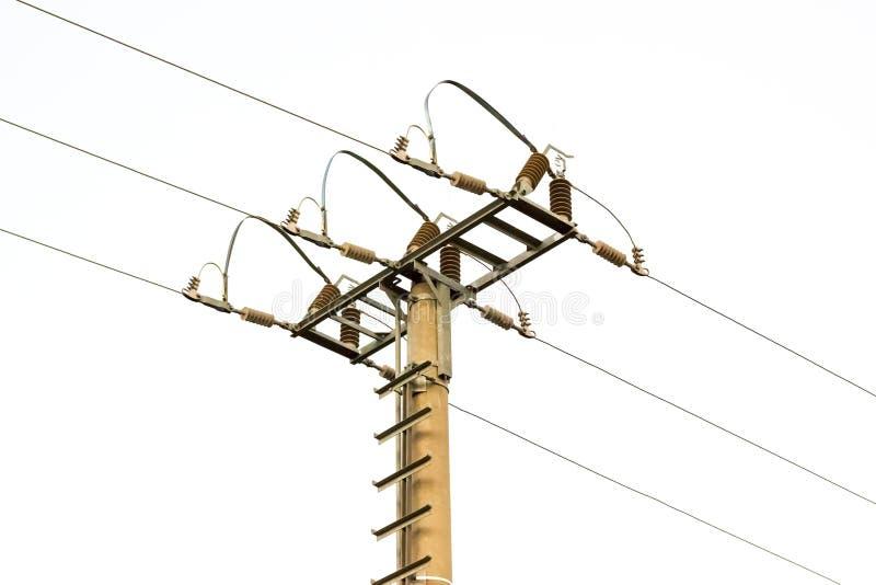 Coluna elétrica de alta tensão isolada fotografia de stock royalty free