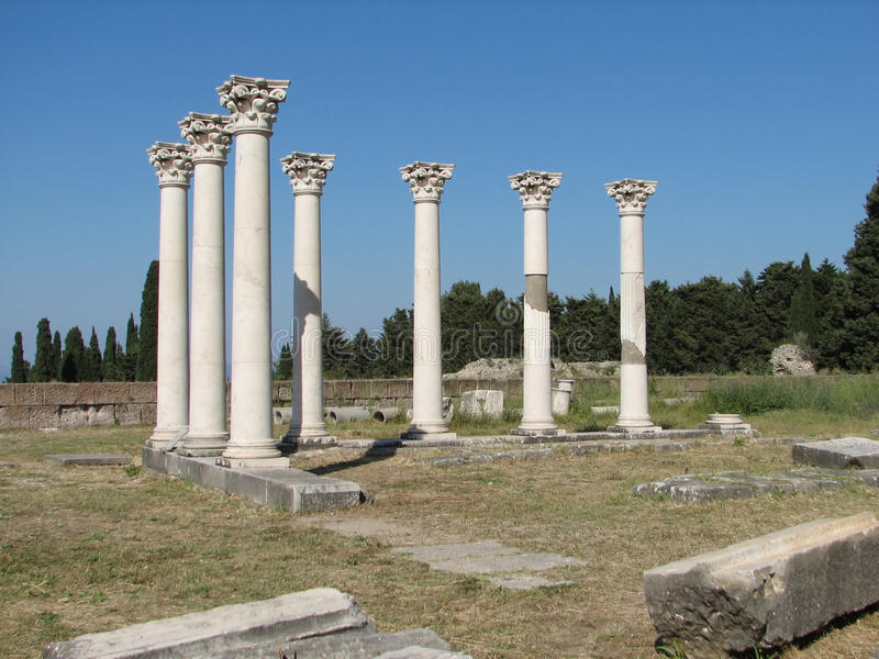Coluna grega antiga, console de Kos, Ascclepion imagens de stock royalty free
