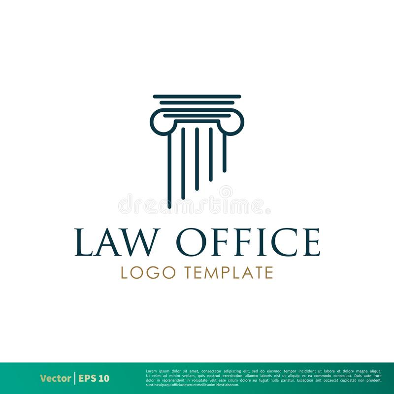 Coluna grega, escritório de advogados da coluna, empresa de advocacia, advogado Icon Vetora Logo Template Illustration Design Vet ilustração do vetor