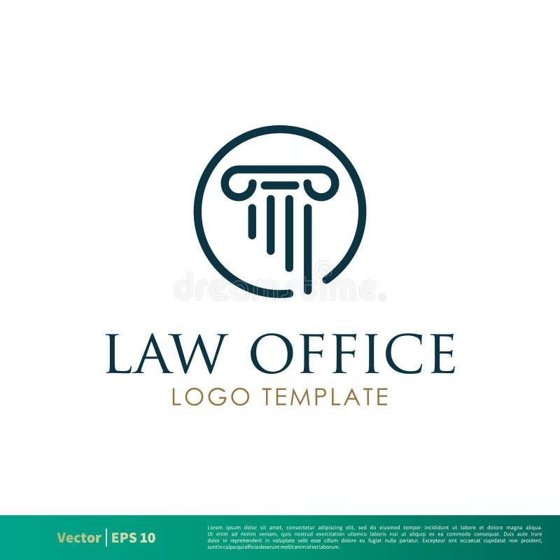 Coluna grega, escritório de advogados da coluna, empresa de advocacia, advogado Icon Vetora Logo Template Illustration Design Vet ilustração stock