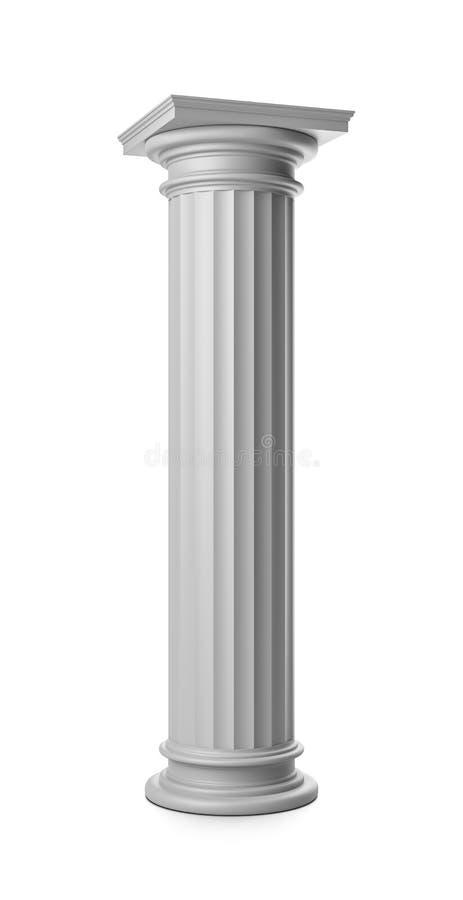 Coluna grega no branco ilustração stock