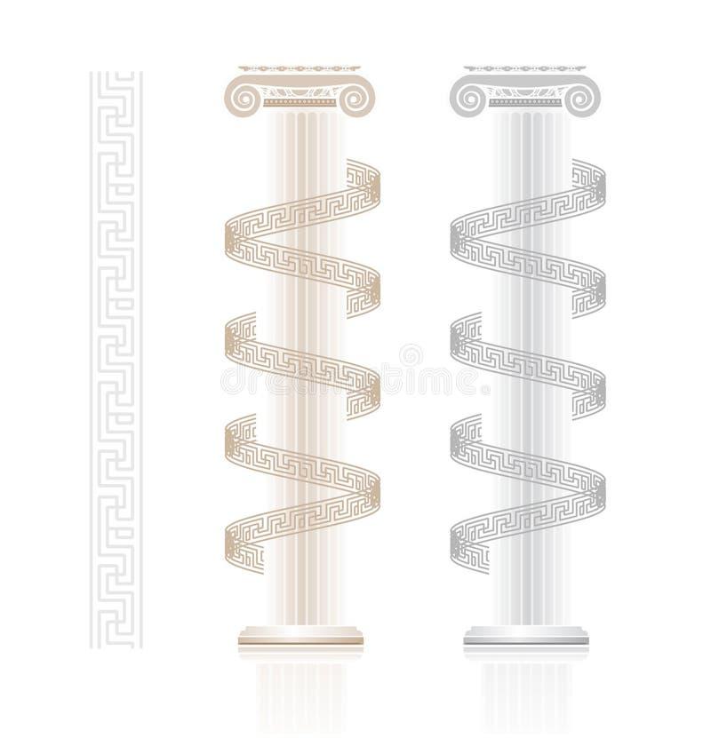 Coluna iónica com teste padrão chave grego ilustração do vetor