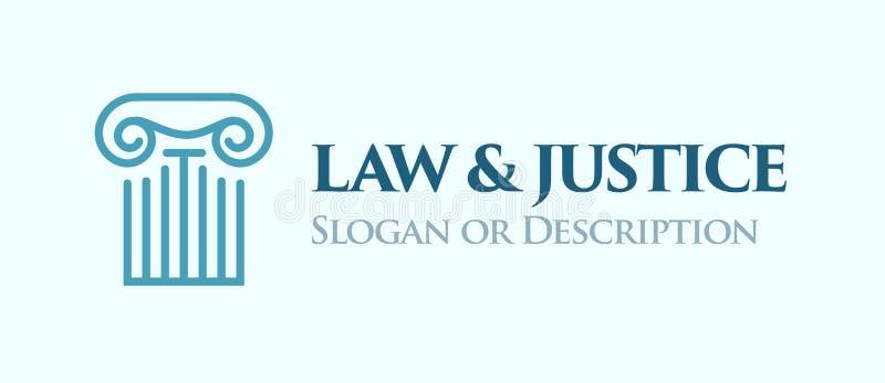 Coluna iônica da ordem Emblema para a lei e o negócio legal ilustração royalty free