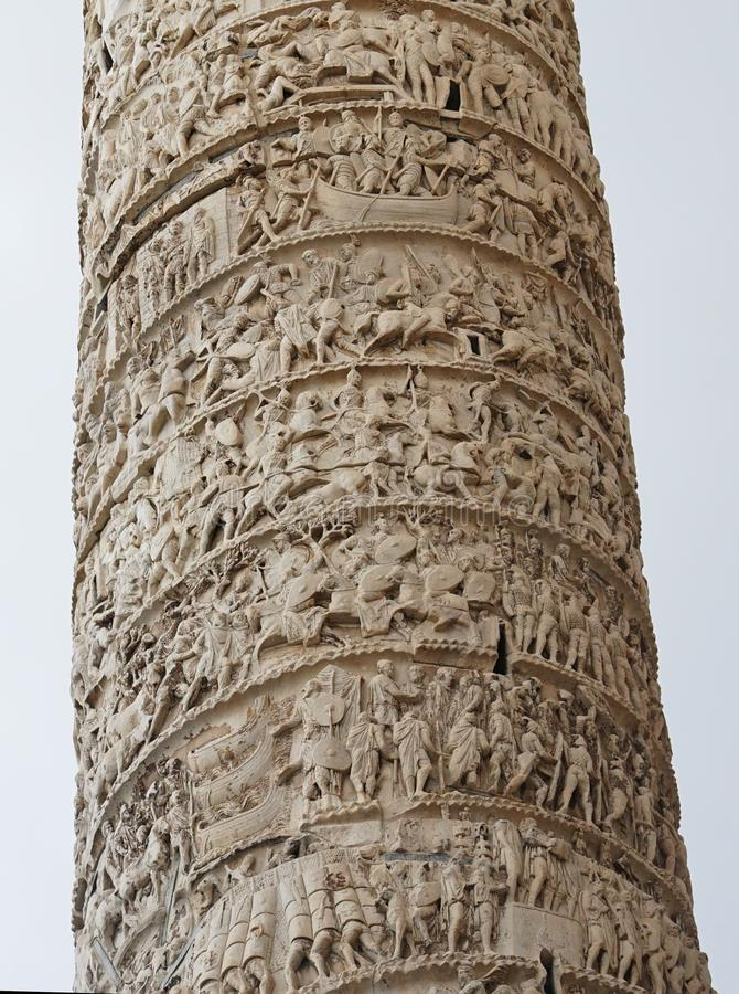 Coluna por Marcus Aurelius em Roma foto de stock