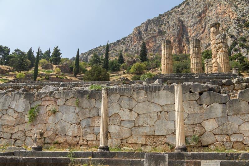 Colunas antigas em Delphi em Grécia foto de stock royalty free