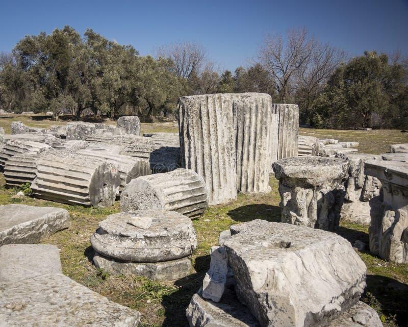 Colunas antigas em Lagina, Turquia imagens de stock