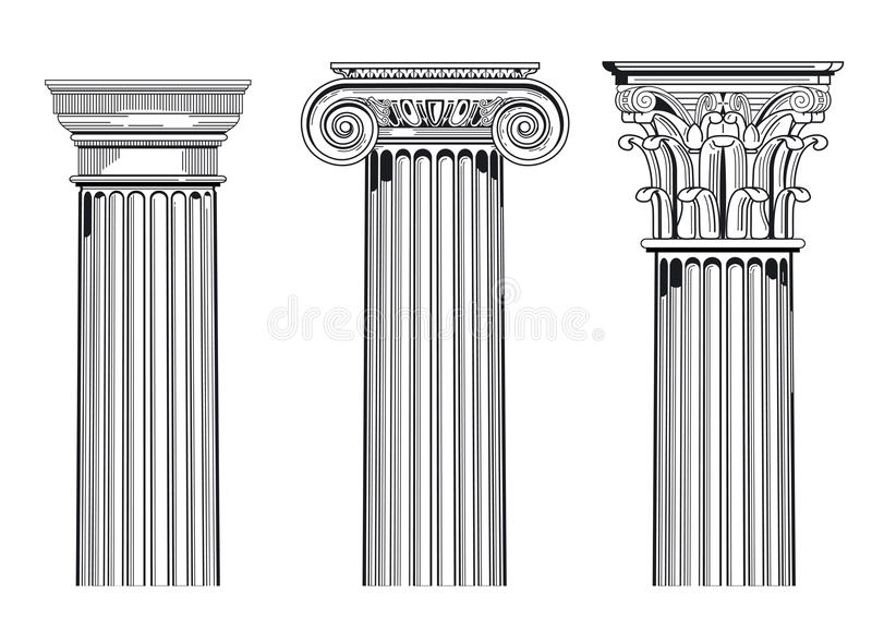 Colunas arquitectónicas clássicas ilustração royalty free