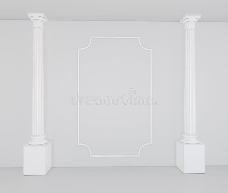 Colunas brancas em um interior vazio com uma decoração clássica na parede ilustração stock