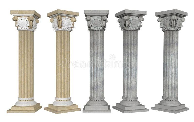 Colunas com capital dos ângulos diferentes no fundo branco ilustração do vetor