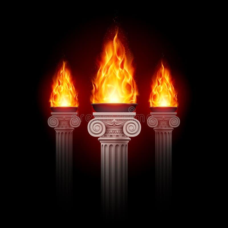 Colunas com fogo ilustração stock