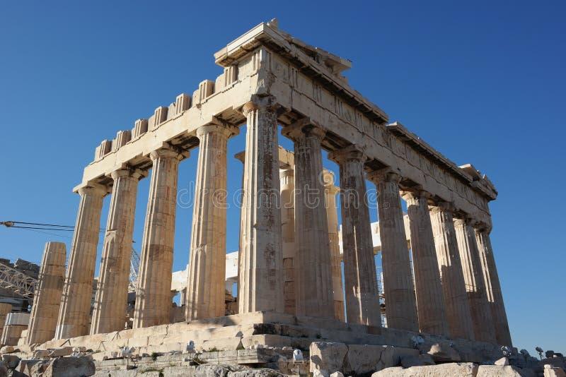 Colunas da acrópole, templo do Partenon, Atenas fotografia de stock