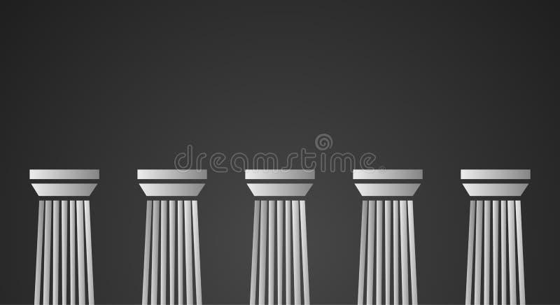 Colunas de mármore brancas no fundo preto ilustração royalty free