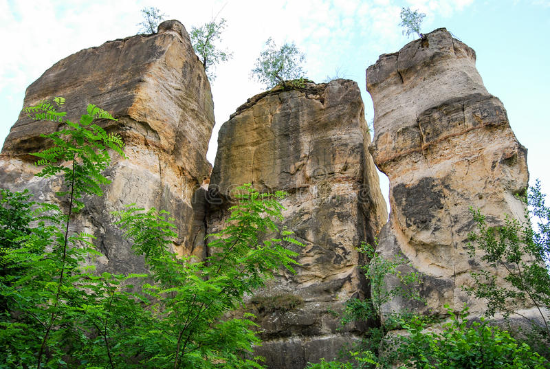 Colunas de pedra naturais fotografia de stock