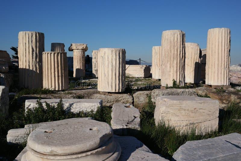 Colunas do Acropolis, Atenas fotos de stock royalty free