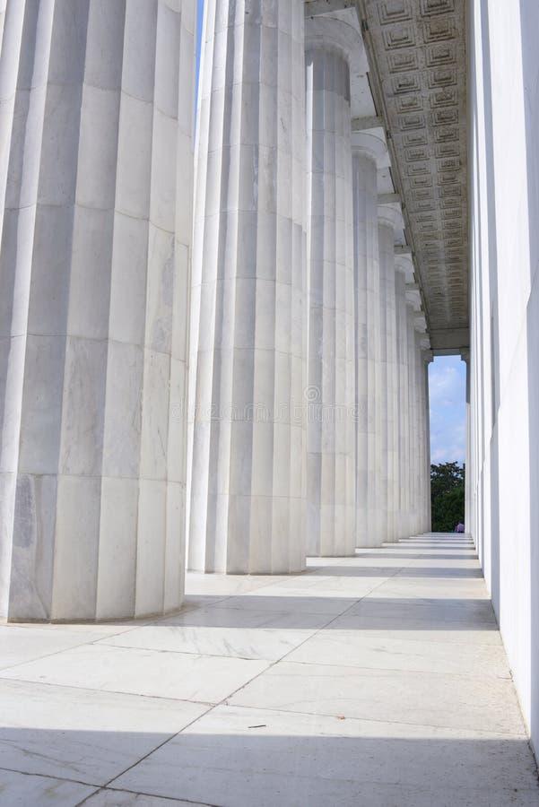 Colunas do memorial de Lincoln fotos de stock
