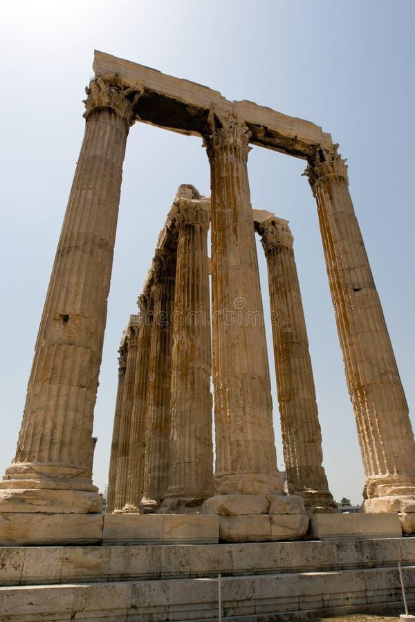 Colunas do templo do Zeus fotos de stock