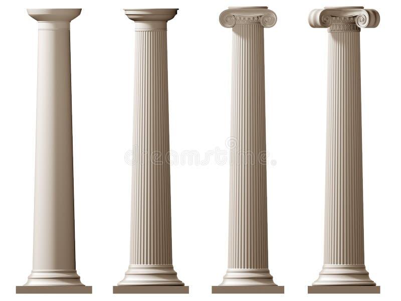 Colunas Doric e iónicas romanas ilustração royalty free