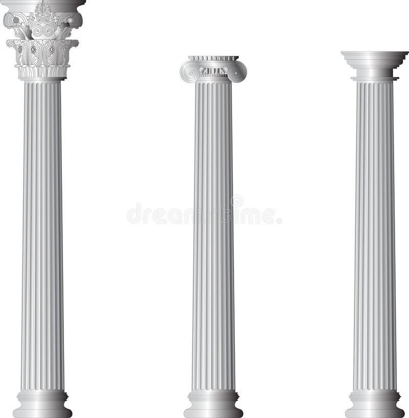 Colunas Doric iónicas do Corinthian ilustração stock