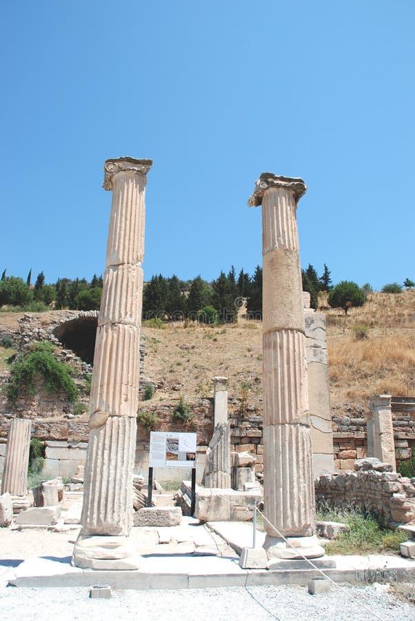 Colunas em Ephesus, Izmir, Turquia, Médio Oriente imagens de stock