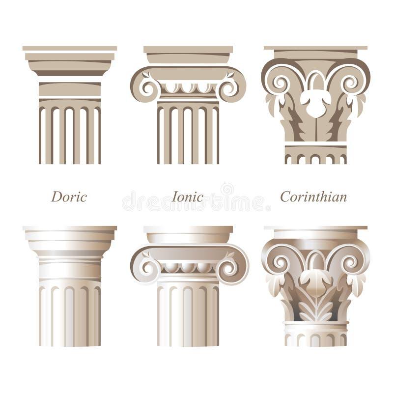 Colunas em estilos diferentes ilustração stock