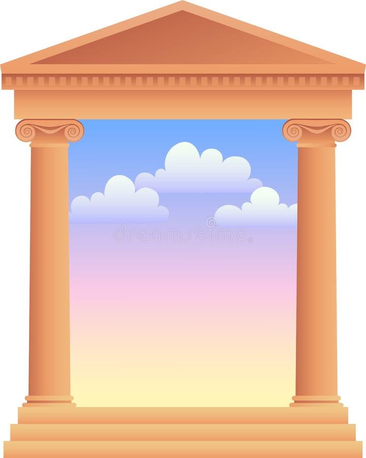 Colunas gregas com céu Background/ai ilustração royalty free