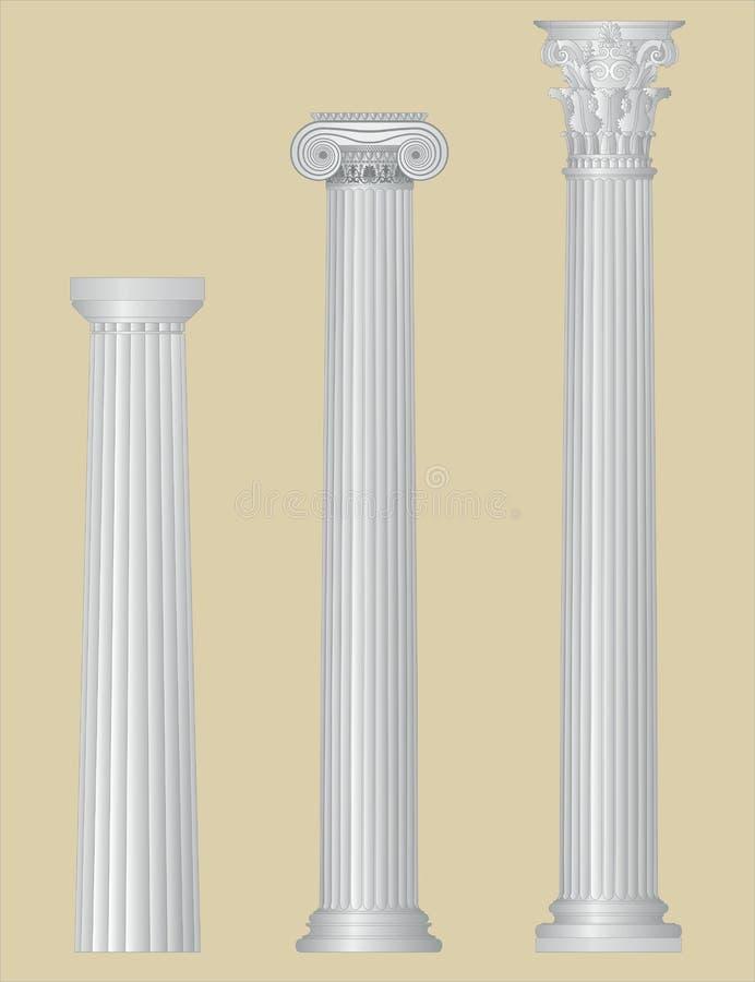 Colunas gregas com detalhes ilustração royalty free