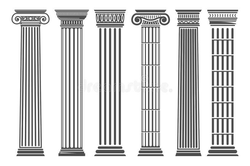 Colunas gregas e romanas ajustadas ilustração do vetor