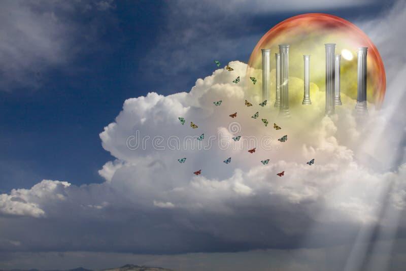 Download Colunas gregas em nuvens ilustração stock. Ilustração de cristal - 16862593
