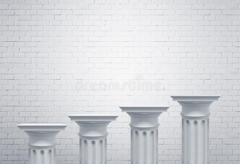 Colunas gregas, parede de tijolo branca ilustração stock