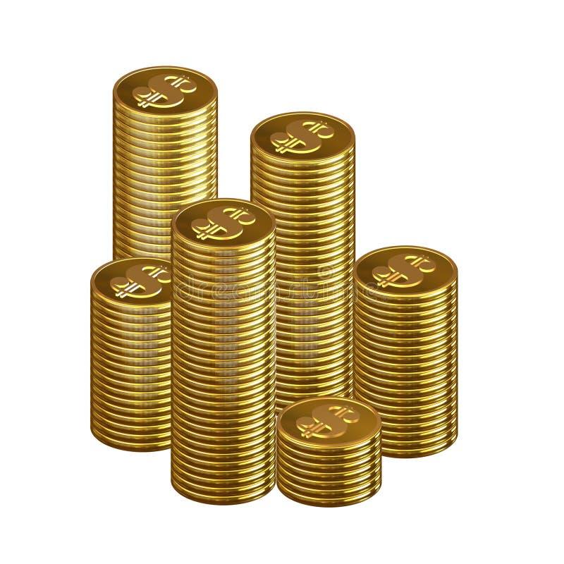 Colunas isoladas das moedas ilustração stock