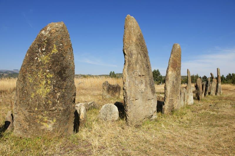 Colunas megalíticas misteriosas de Tiya, local do patrimônio mundial do UNESCO, Etiópia imagens de stock royalty free