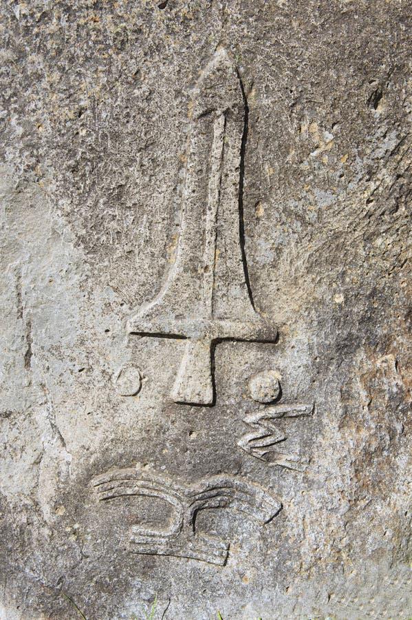 Colunas megalíticas misteriosas de Tiya, local do patrimônio mundial do UNESCO, Etiópia imagem de stock