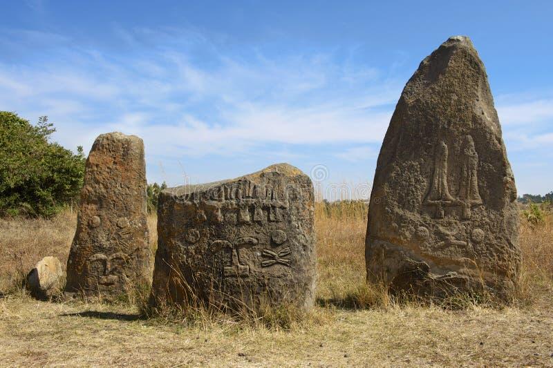 Colunas megalíticas misteriosas de Tiya, local do patrimônio mundial do UNESCO, Etiópia foto de stock royalty free