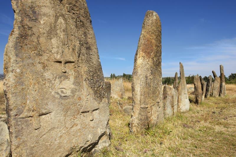 Colunas megalíticas misteriosas de Tiya, local do patrimônio mundial do UNESCO, Etiópia imagem de stock royalty free