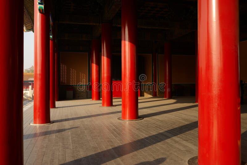 Colunas vermelhas da cidade proibida imagens de stock