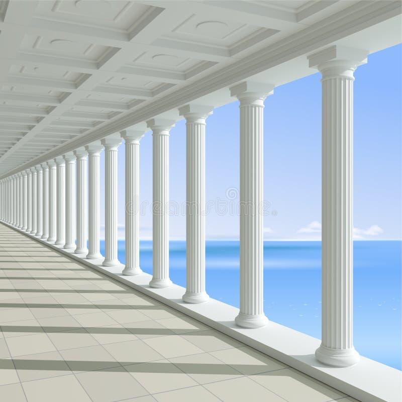Colunata antiga em um fundo do mar azul ilustração do vetor