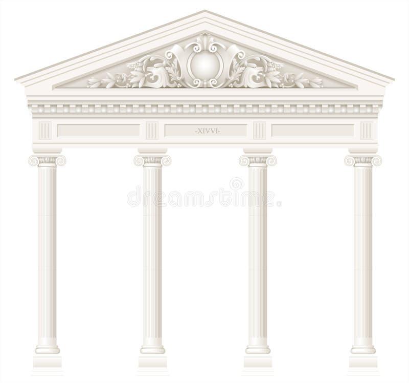 Colunata branca antiga com as colunas iônicas velhas ilustração royalty free