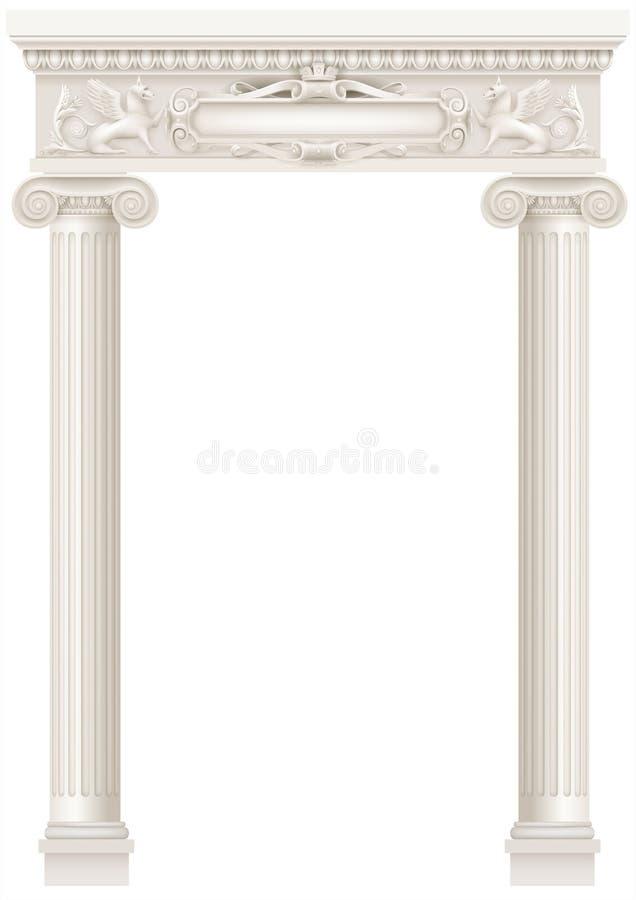 Colunata branca antiga com as colunas iônicas velhas ilustração stock