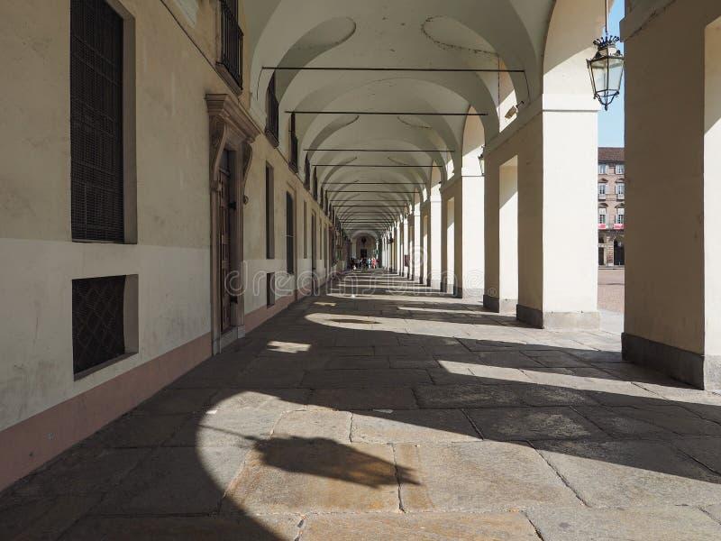 Colunata de Castello da praça em Turin imagens de stock