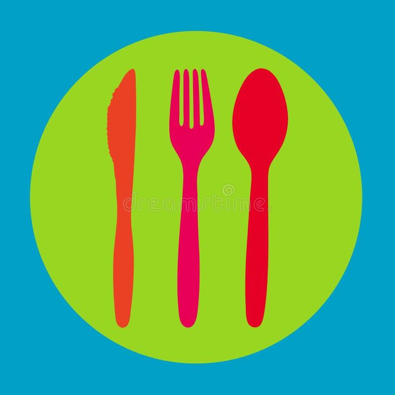 colurful刀叉餐具 向量例证