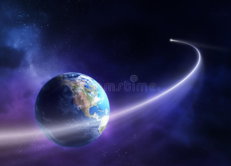 Comète déménageant à travers la terre de planète illustration libre de droits