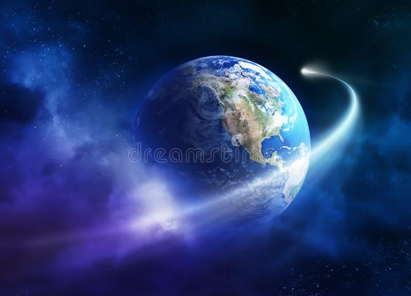 Comète déménageant passant la terre de planète illustration stock