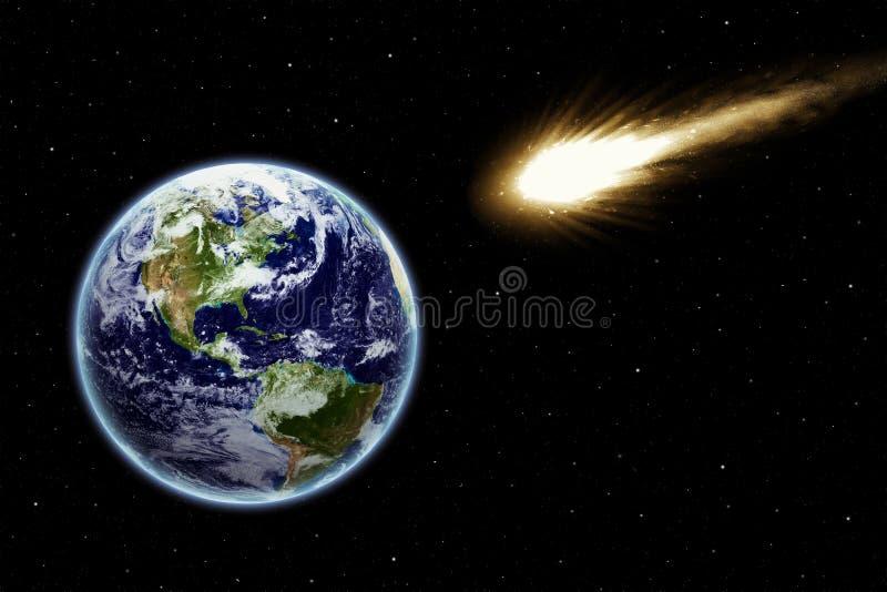Comète dessus dans un domaine d'étoile illustration stock
