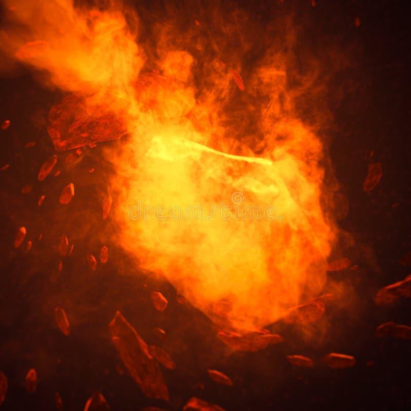 Comète du feu dans l'espace avec la tempête de météore Déplacement puissant d'étoile Art de concept photo stock