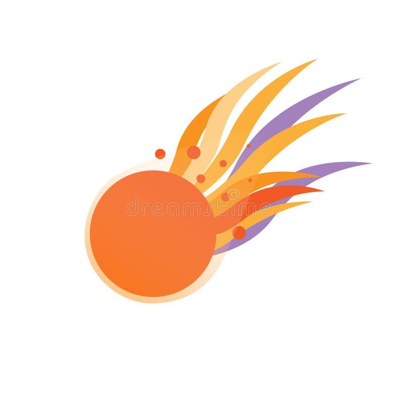 Comète orange volante avec la queue ardente d'isolement illustration de vecteur