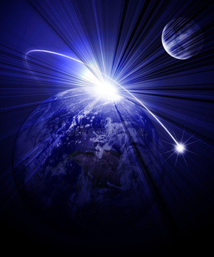 Comète passant près illustration de vecteur