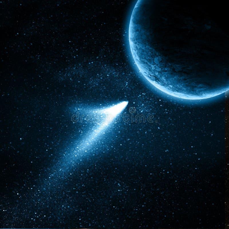 Comète volant à la planète illustration stock