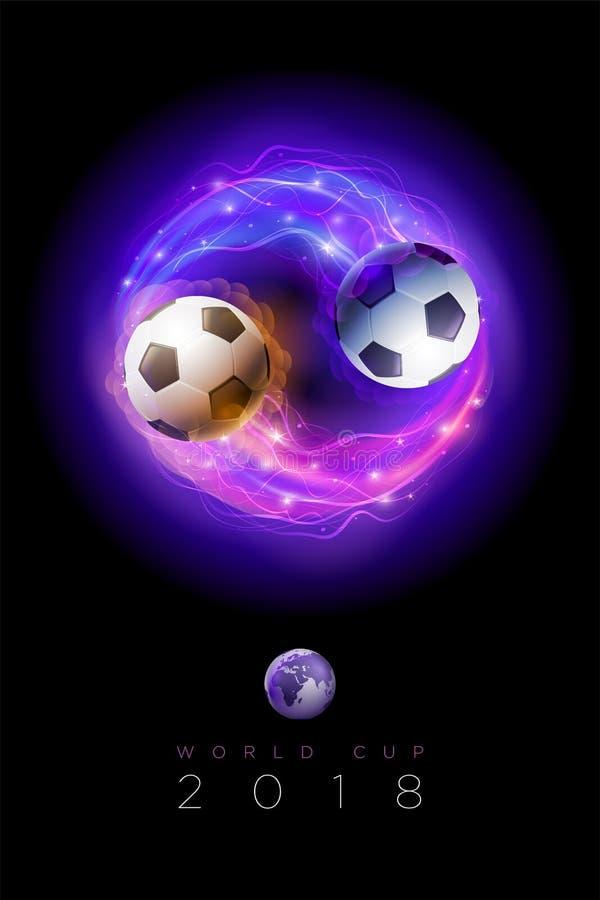 Comètes de ballon de football et globes du monde sur le fond noir de l'espace illustration stock
