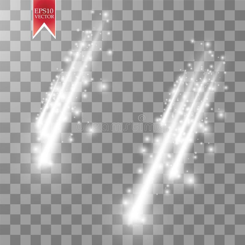 Comètes de pluie de vecteur d'isolement sur le fond transparent lumières Concept magique illustration de vecteur