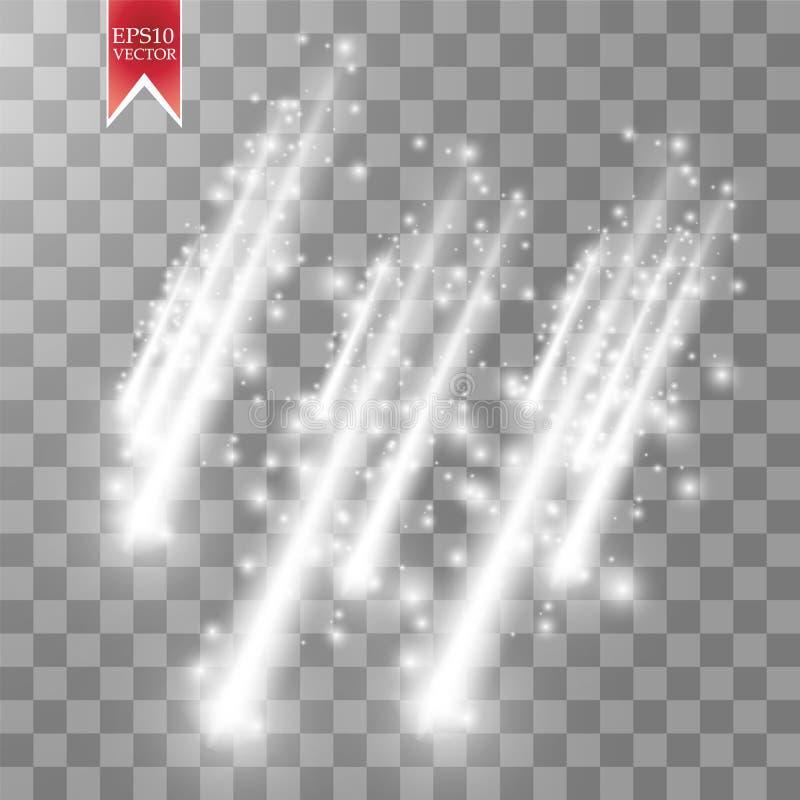 Comètes de pluie de vecteur d'isolement sur le fond transparent lumières Concept magique Abrégé sur blanc vague de scintillement  illustration stock